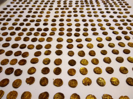 Hoard coins laid out
