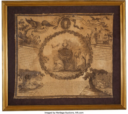Scarf mourning the death of Alexander Hamilton, ca. 1804. Photo courtesy Heritage Auctions.